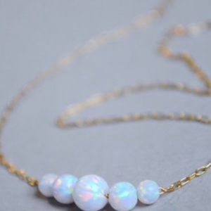 """Opal Necklace 18"""" White Fire & Sterling Silver"""